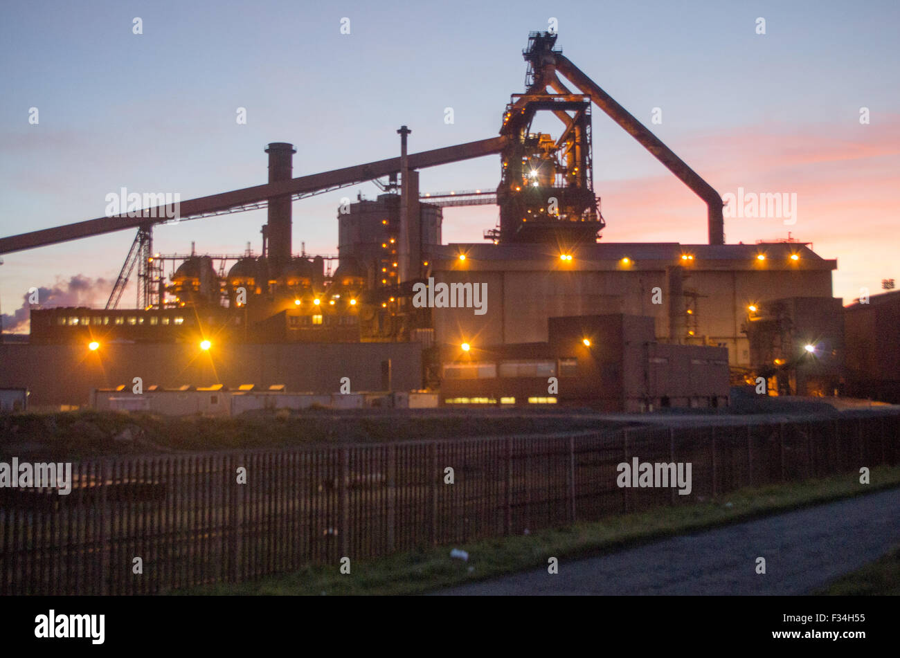 Redcar, UK. 29th September, 2015. SSI Steelworks at Redcar, the day after it was announced that 1700 jobs would - Stock Image