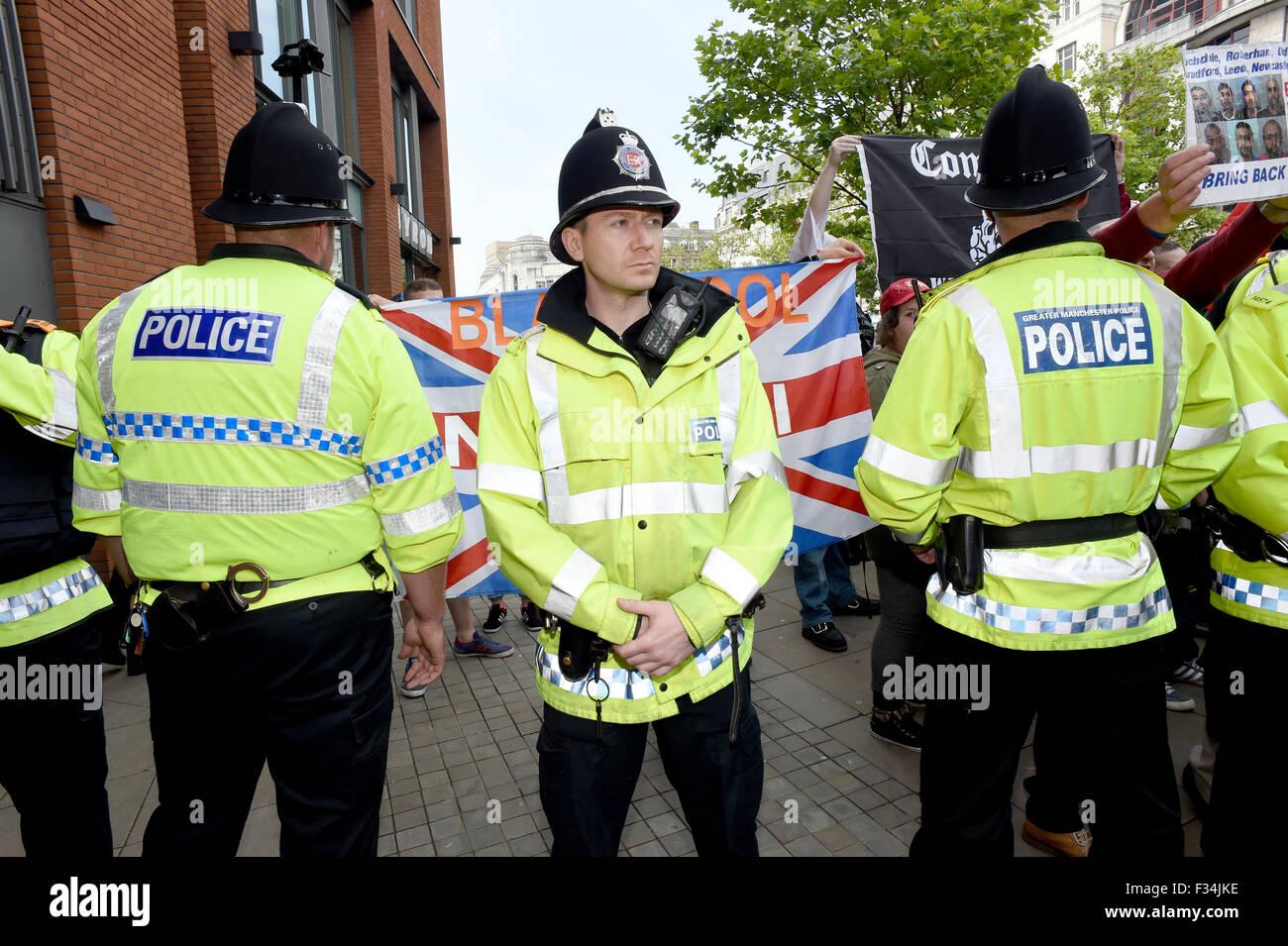 Racist demonstrators and police - Stock Image
