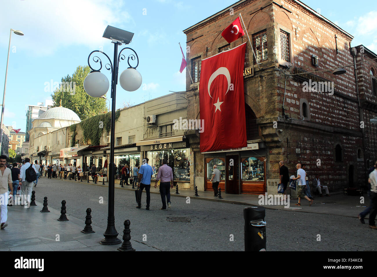 Istanbul, Turkey - September 18, 2015: The Turkish flag outside in the street Stock Photo