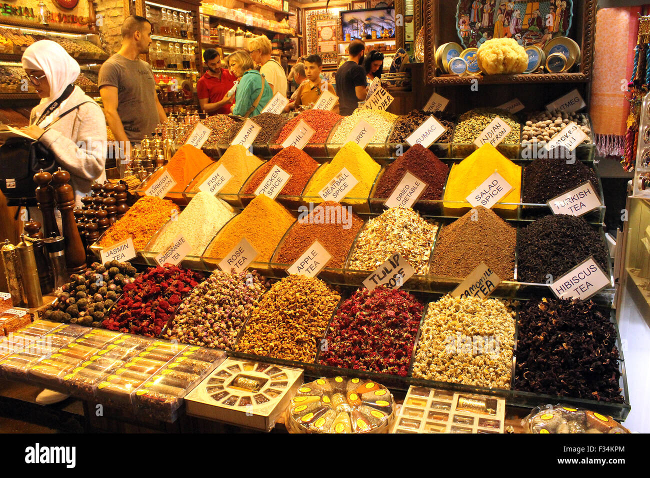 Spice shop at the Spice Bazaar in Istanbul, selective focus Stock Photo