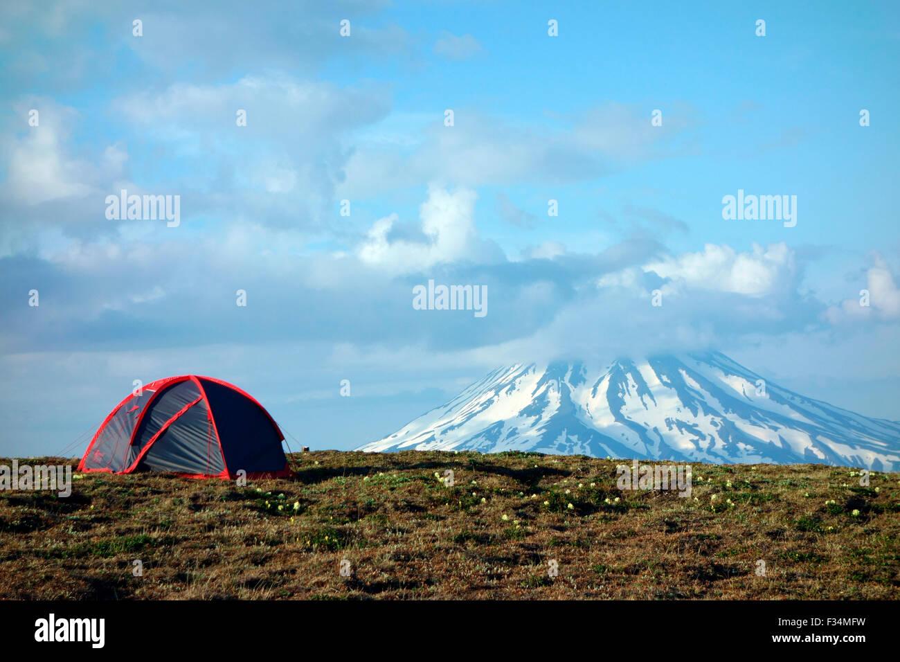 Camping below Vilyuchinsky volcano, Kamchatka Peninsula, Russia - Stock Image