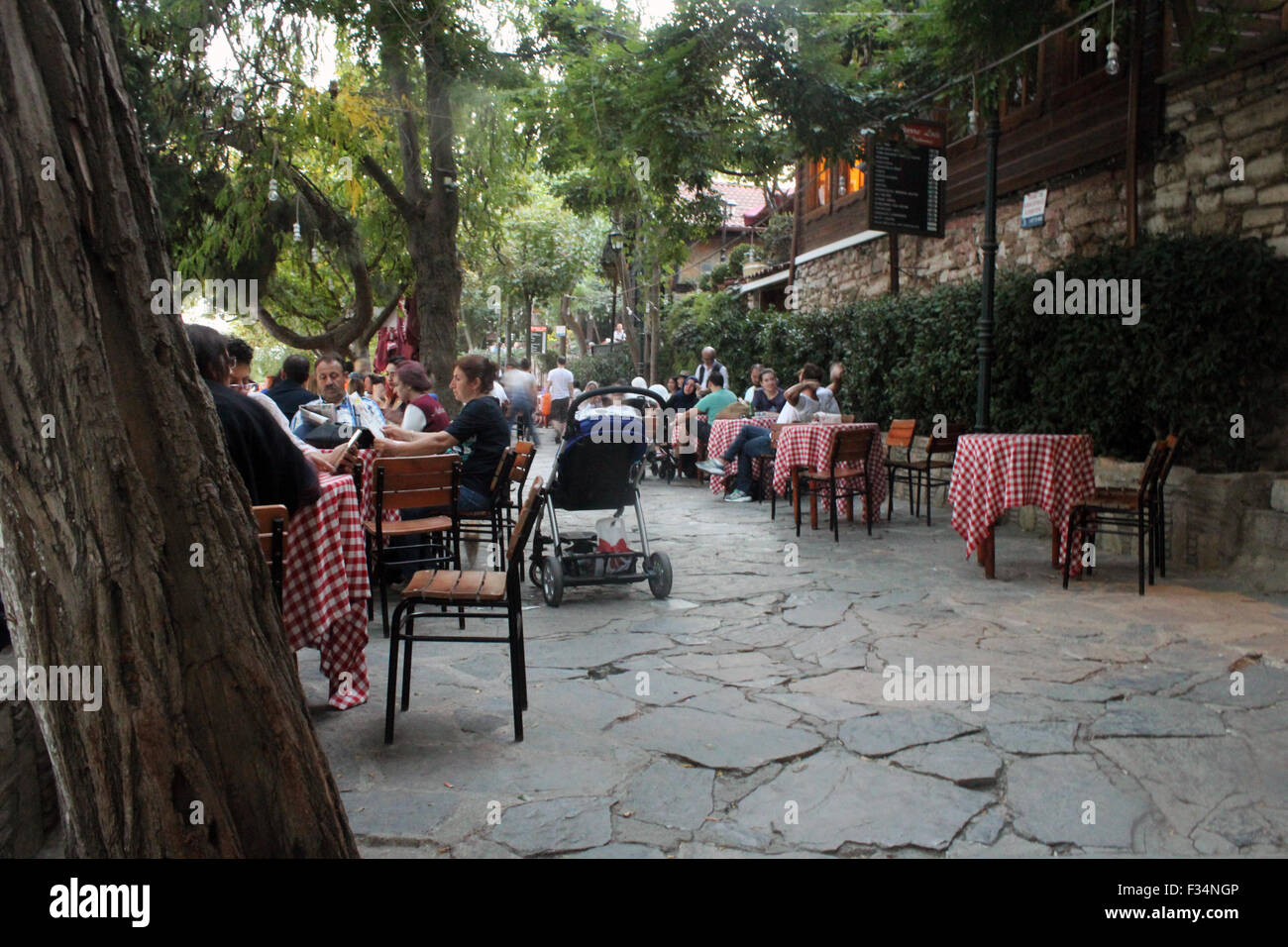 Istanbul, Turkey - September 21, 2015: Peoples are sitting in the cafe Istanbul's famous hill in Pierre Loti Stock Photo