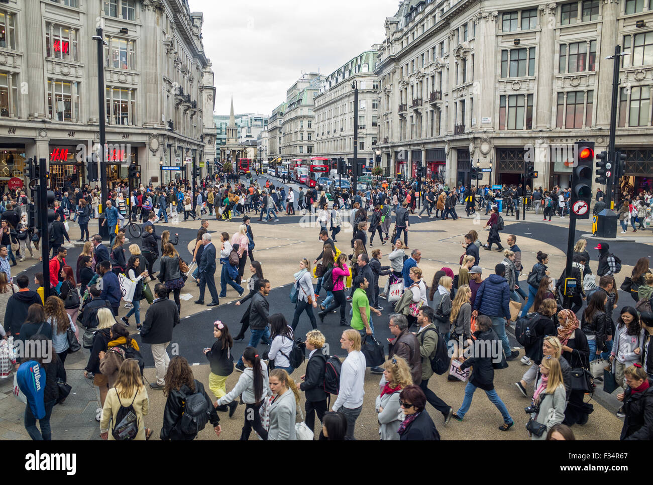 Oxford Circus diagonal 'X-Crossing'. Oxford street and Regent Street. London. UK - Stock Image
