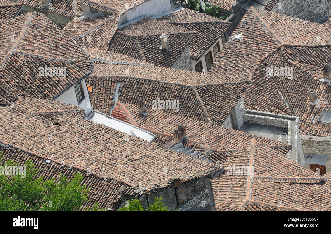 Tiled roofs of houses below  Berat Castle. Berat, Albania.  08Sep15 - Stock Image