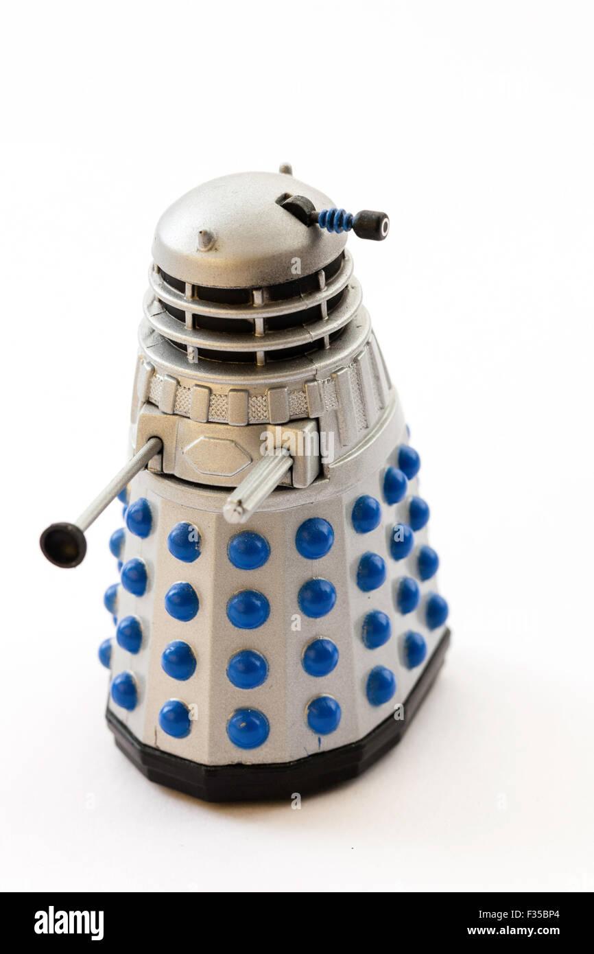 BBC TV series, Doctor Who, grey model toy metal Daleks on plain background - Stock Image