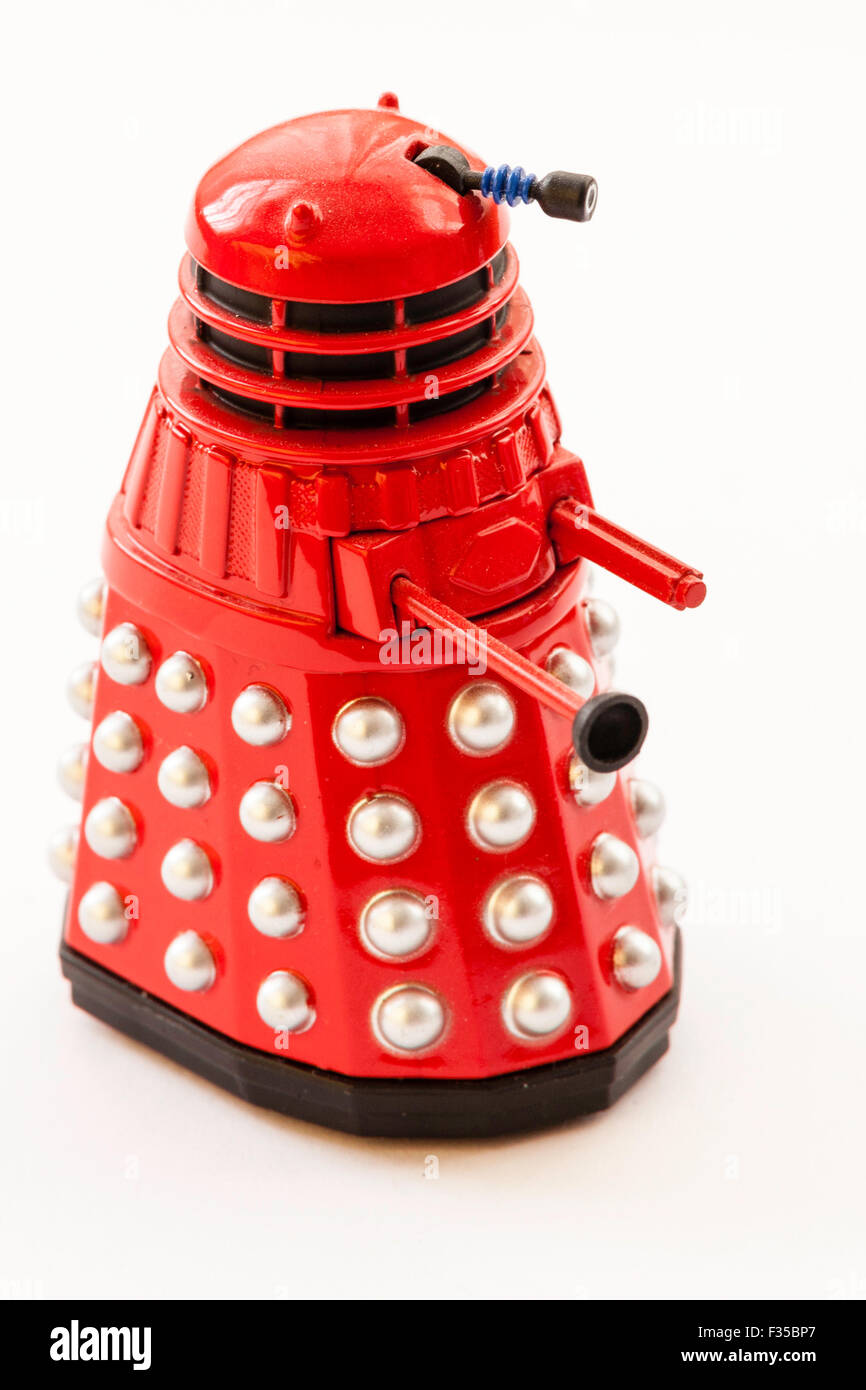 BBC TV series, Doctor Who, red model toy metal Daleks on plain background - Stock Image