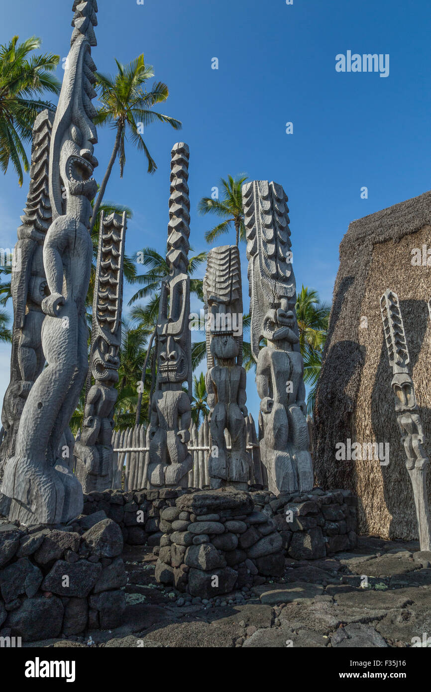 Puuhonua - Honaunau National Historical Park is a US National Historical Park located on the Big Island of Hawaii. - Stock Image