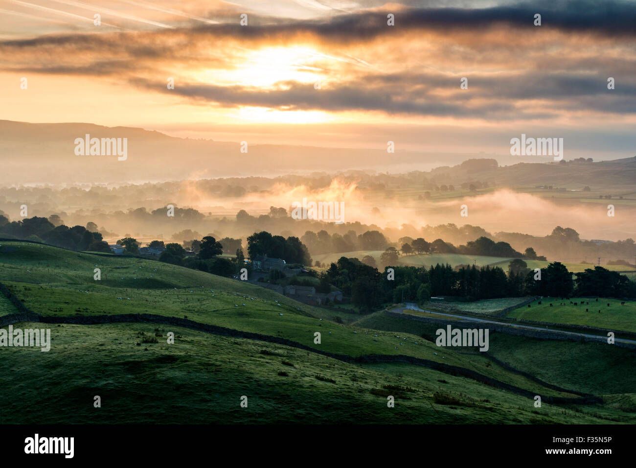 Kirkcarrion, Lunedale, Teesdale, County Durham. Wednesday 30th September 2015, UK Weather. It was another cool and Stock Photo