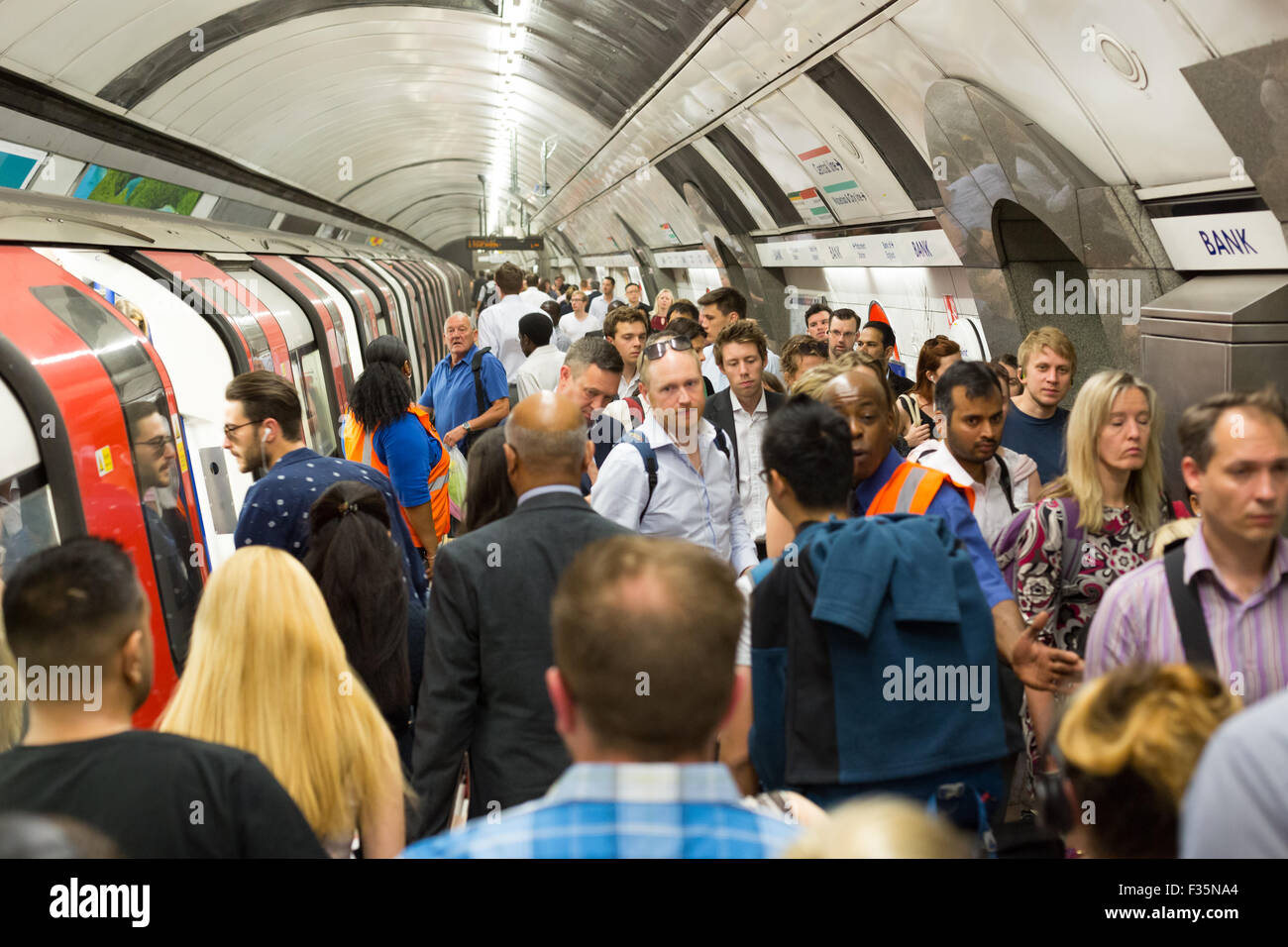 Rush Hour at Bank Station on the London Underground - Stock Image