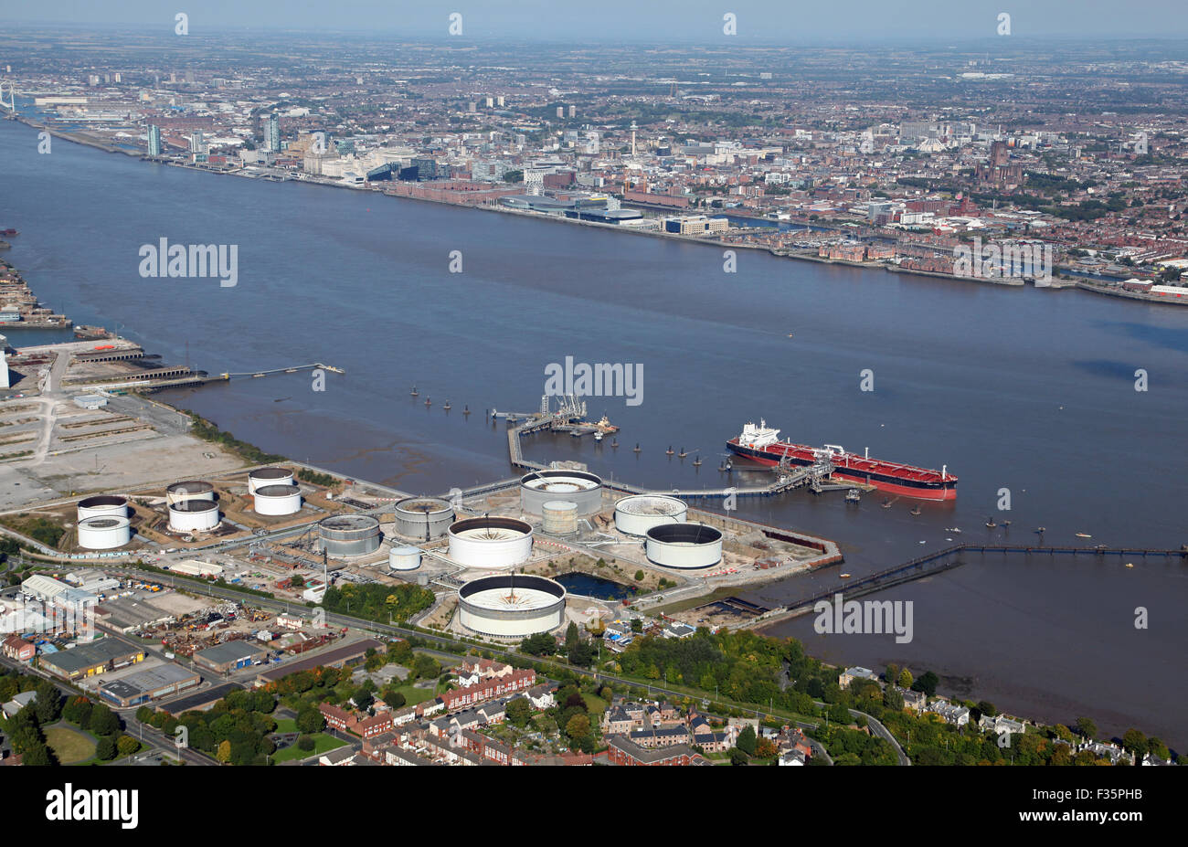 aerial view of Tranmere Oil Terminal on the Wirral on the River Mersey, UK - Stock Image
