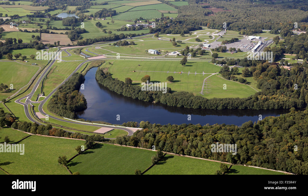 aerial view of Oulton Park motor racing circuit in Cheshire, UK - Stock Image