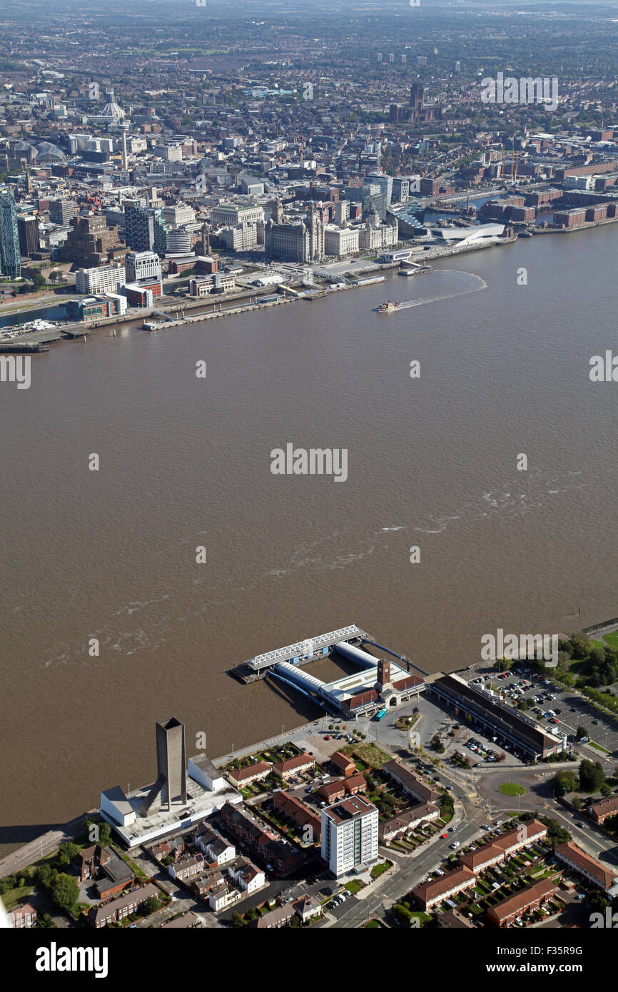 aerial view of The Mersey Ferry operating between Liverpool and Birkenhead, UK - Stock Image