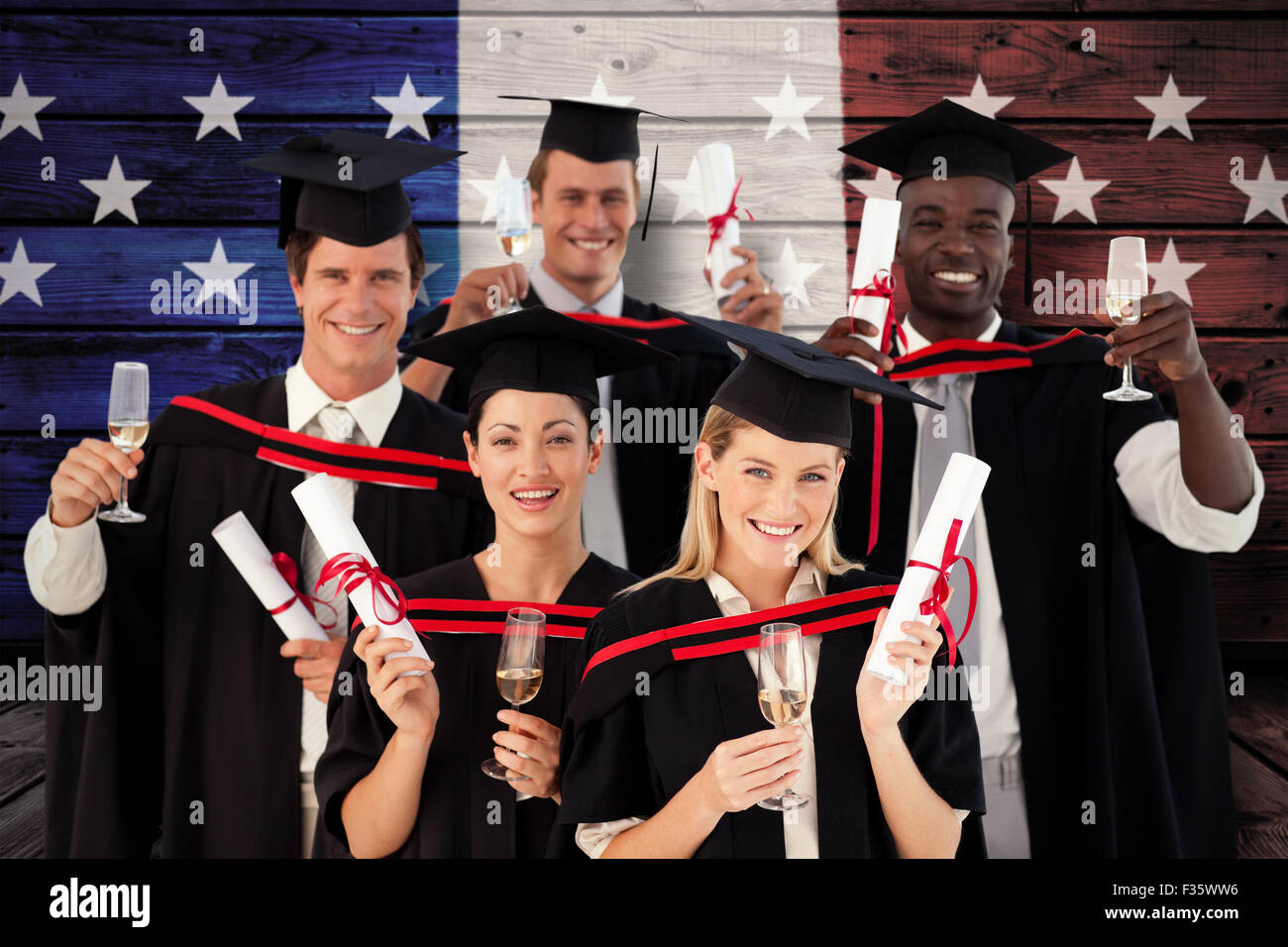 Composite image of group of people graduating from college - Stock Image