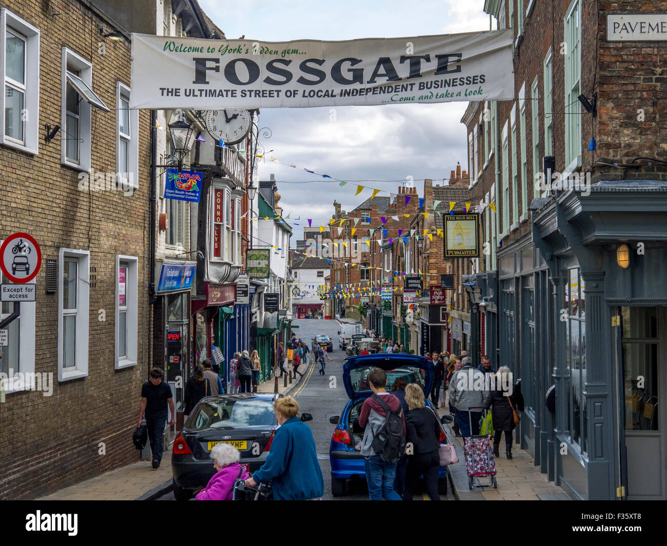 Fossgate in York, a street full of independent businesses - Stock Image