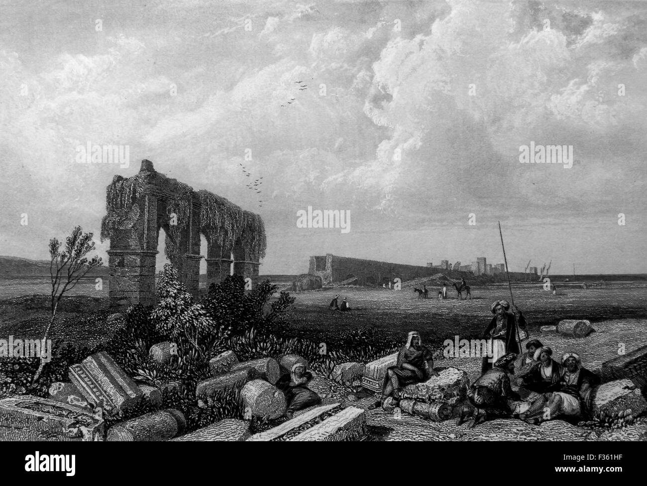 The Ruins of Tyre. Black and White Illustration from Landscapes of the Bible - Stock Image