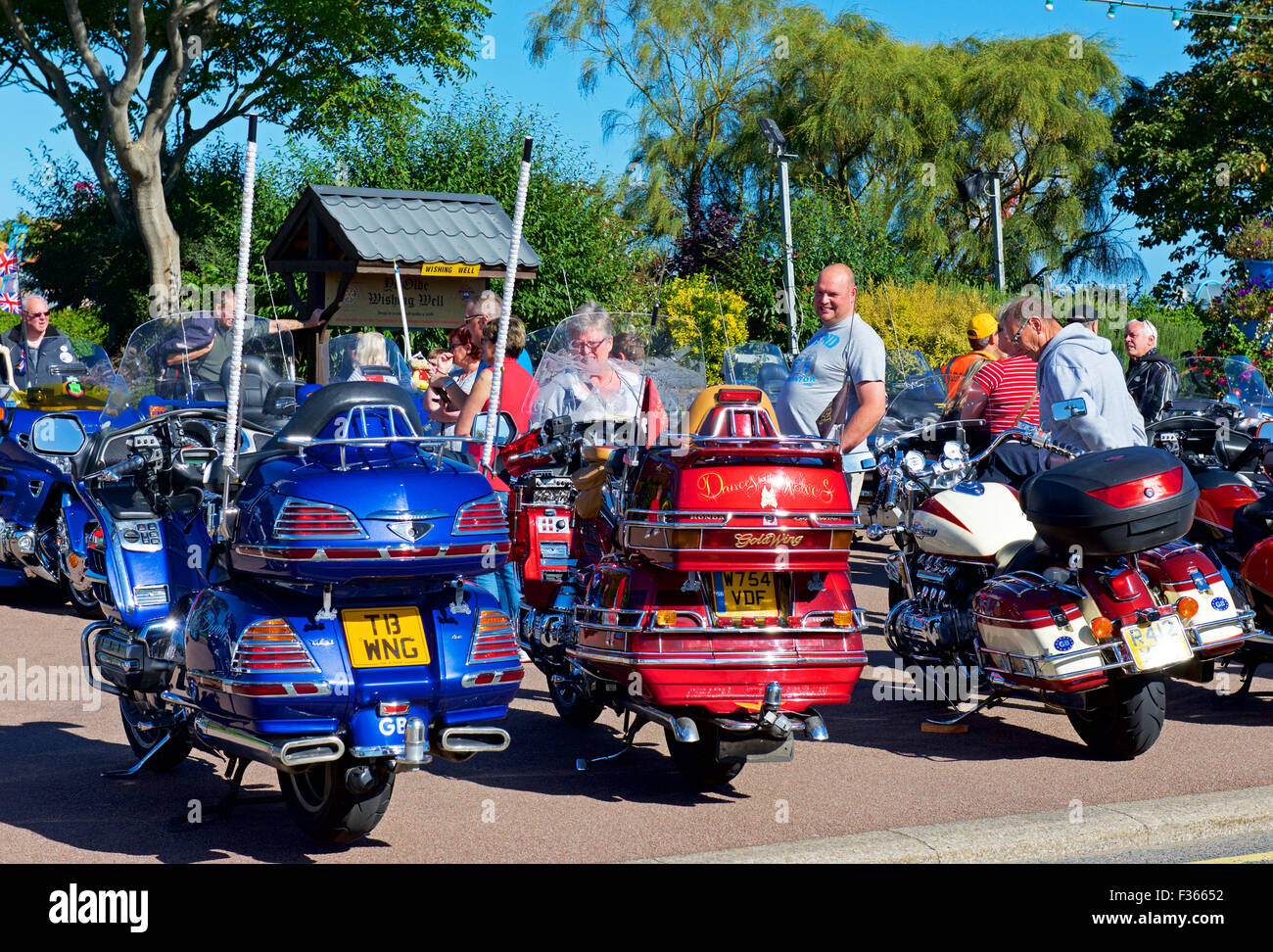 Display of Honda Goldwing motorbikes - and mascots - at Skegness, Lincolnshire, England UK - Stock Image