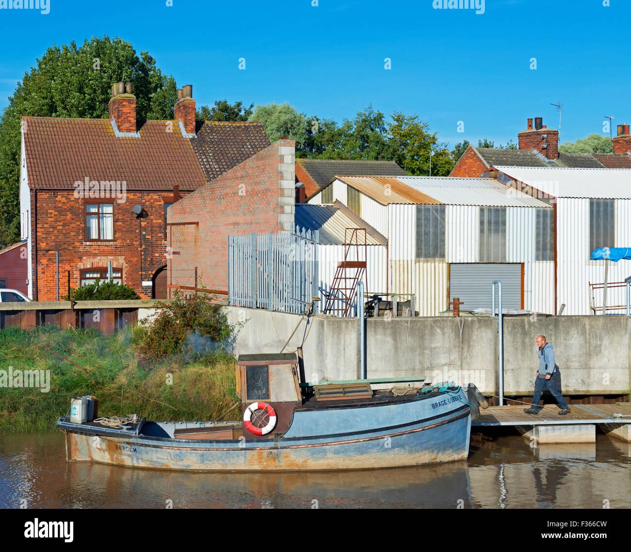 Boat moored at Barton Haven Boatyard, Barton upon Humber, North Lincolnshire, England UK - Stock Image