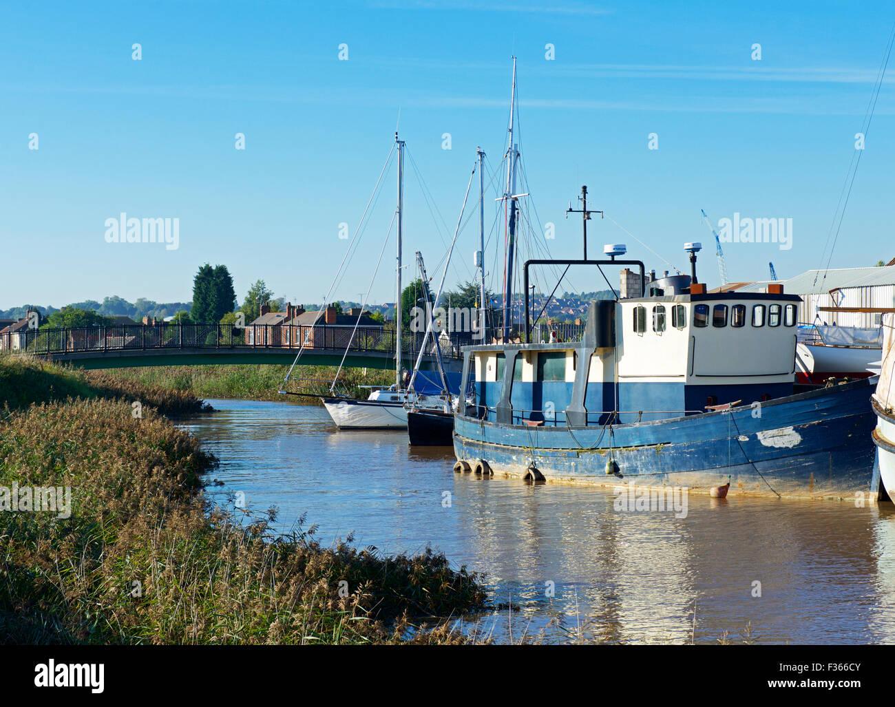 Boats moored at Barton Haven Boatyard, Barton upon Humber, North Lincolnshire, England UK - Stock Image