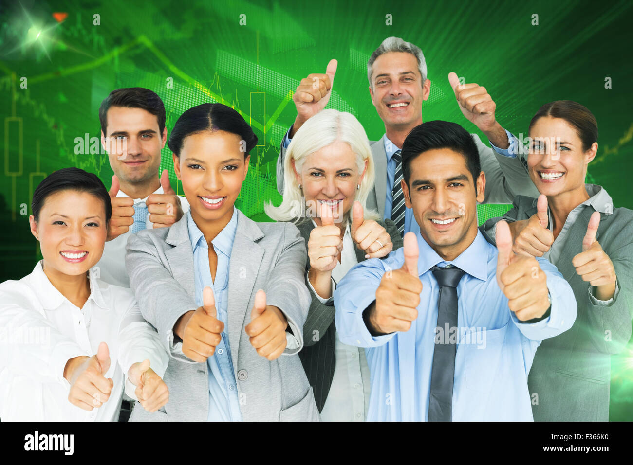 Composite image of happy business people with thumbs up looking at camera - Stock Image