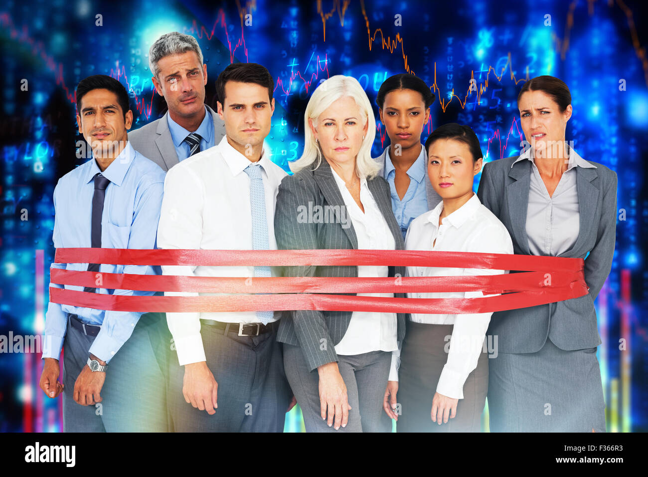 Composite image of unhappy business people surrounding by red strip - Stock Image