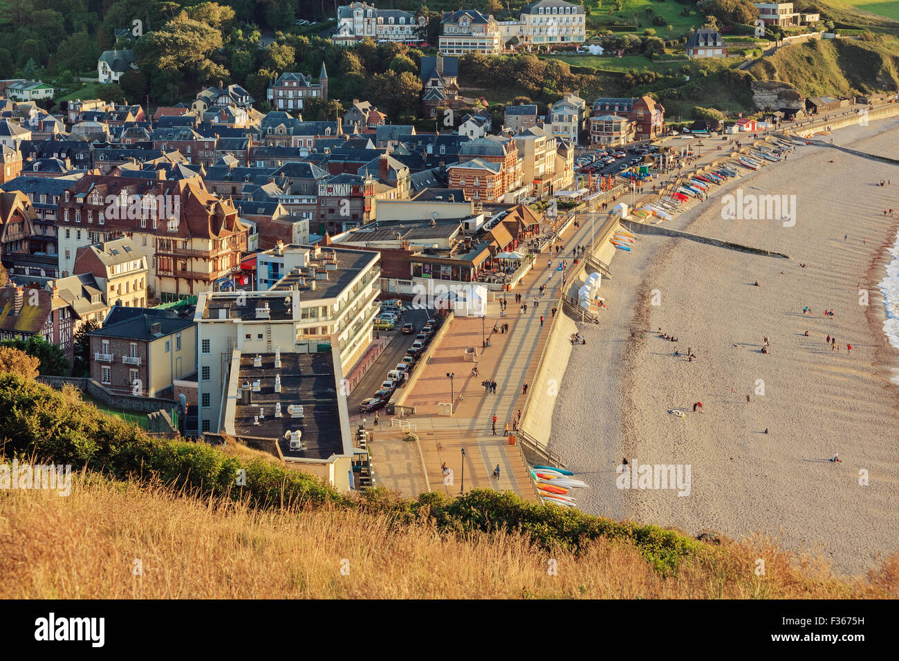 Etretat commune from viewpoint, France Stock Photo