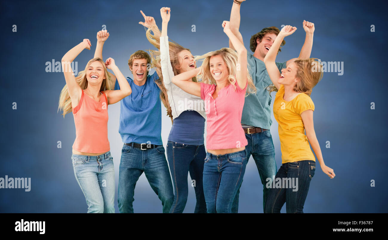 Composite image of friends partying together while laughing and smiling - Stock Image