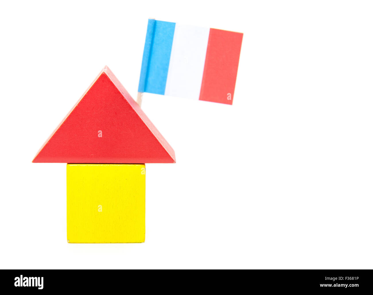 Stylized home with french flag. All on white background - Stock Image
