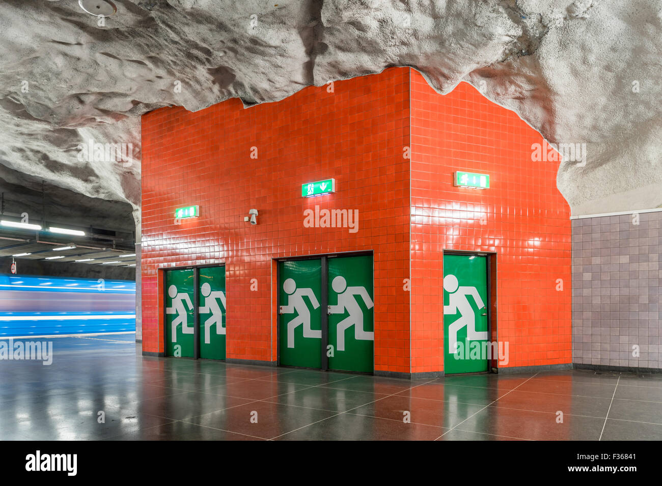 Inside Stadion subway station in Stockholm Tunnelbana - Stock Image