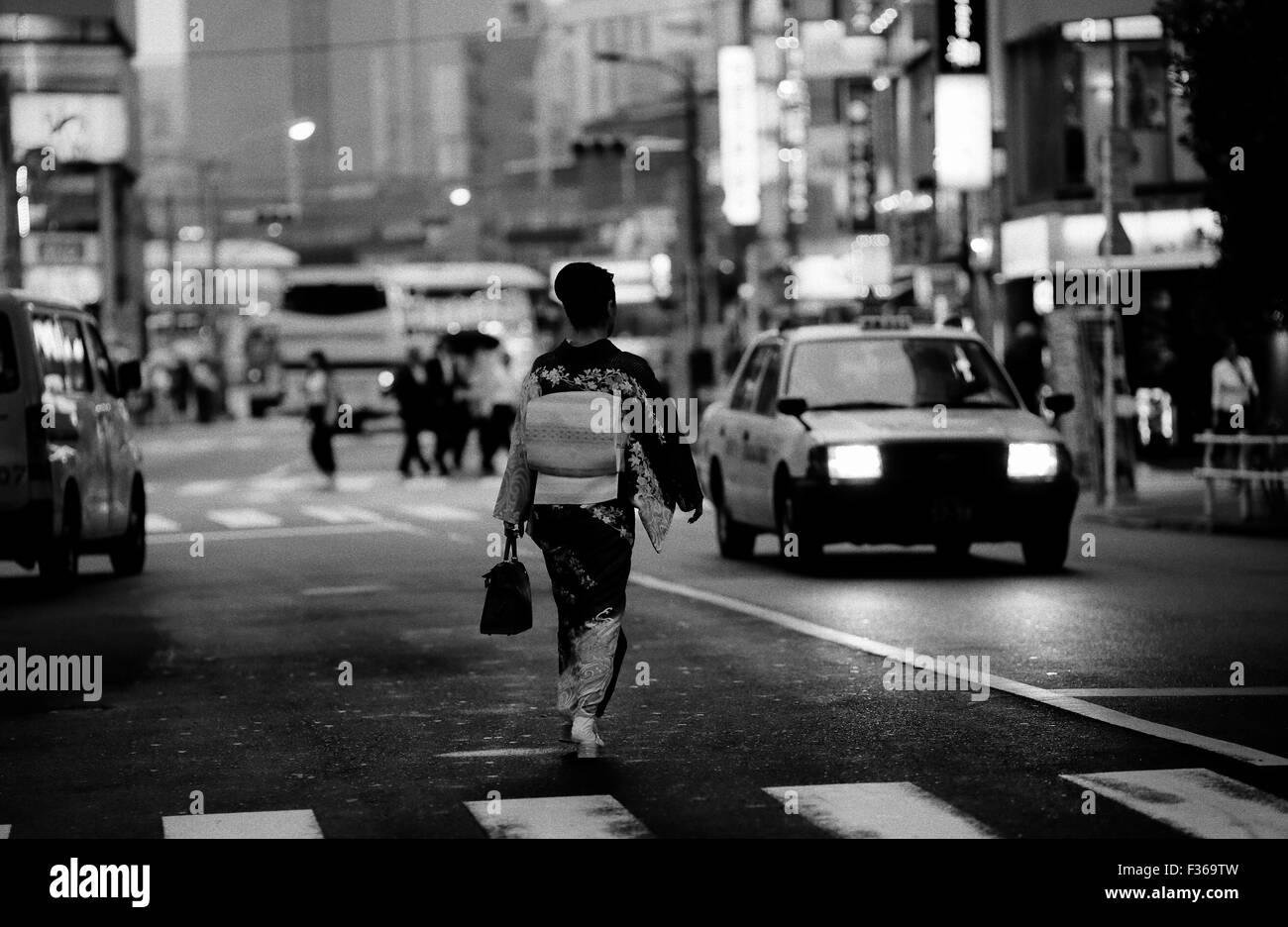 Woman in Kimono Tokyo Stock Photo