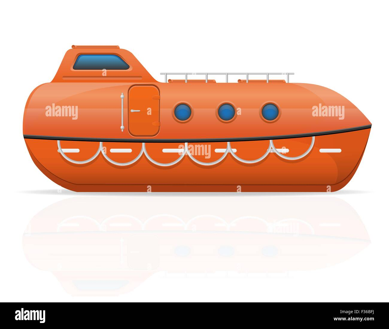 nautical lifeboat vector illustration isolated on white background - Stock Vector