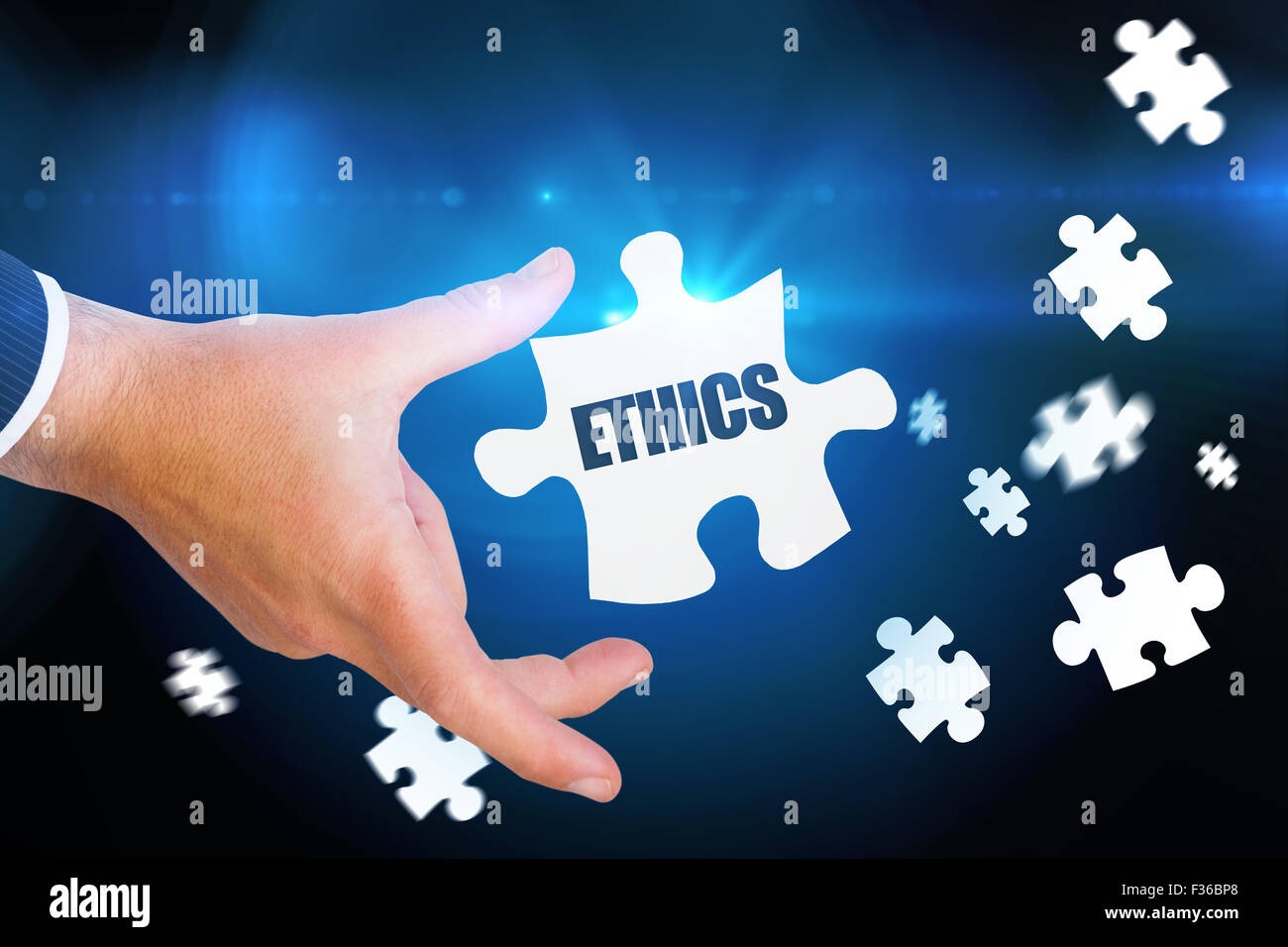 Ethics against blue background with vignette - Stock Image