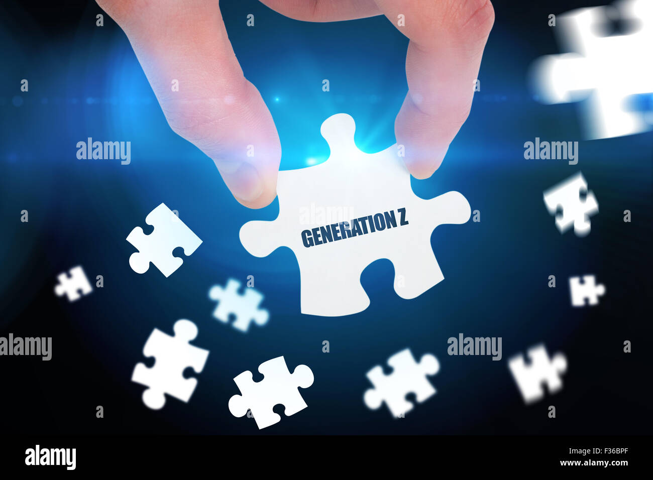 Generation z against blue background with vignette - Stock Image