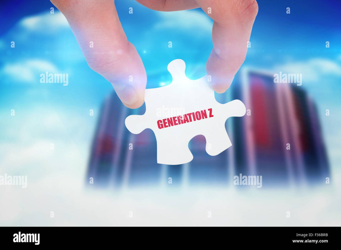 Generation z against composite image of server towers - Stock Image