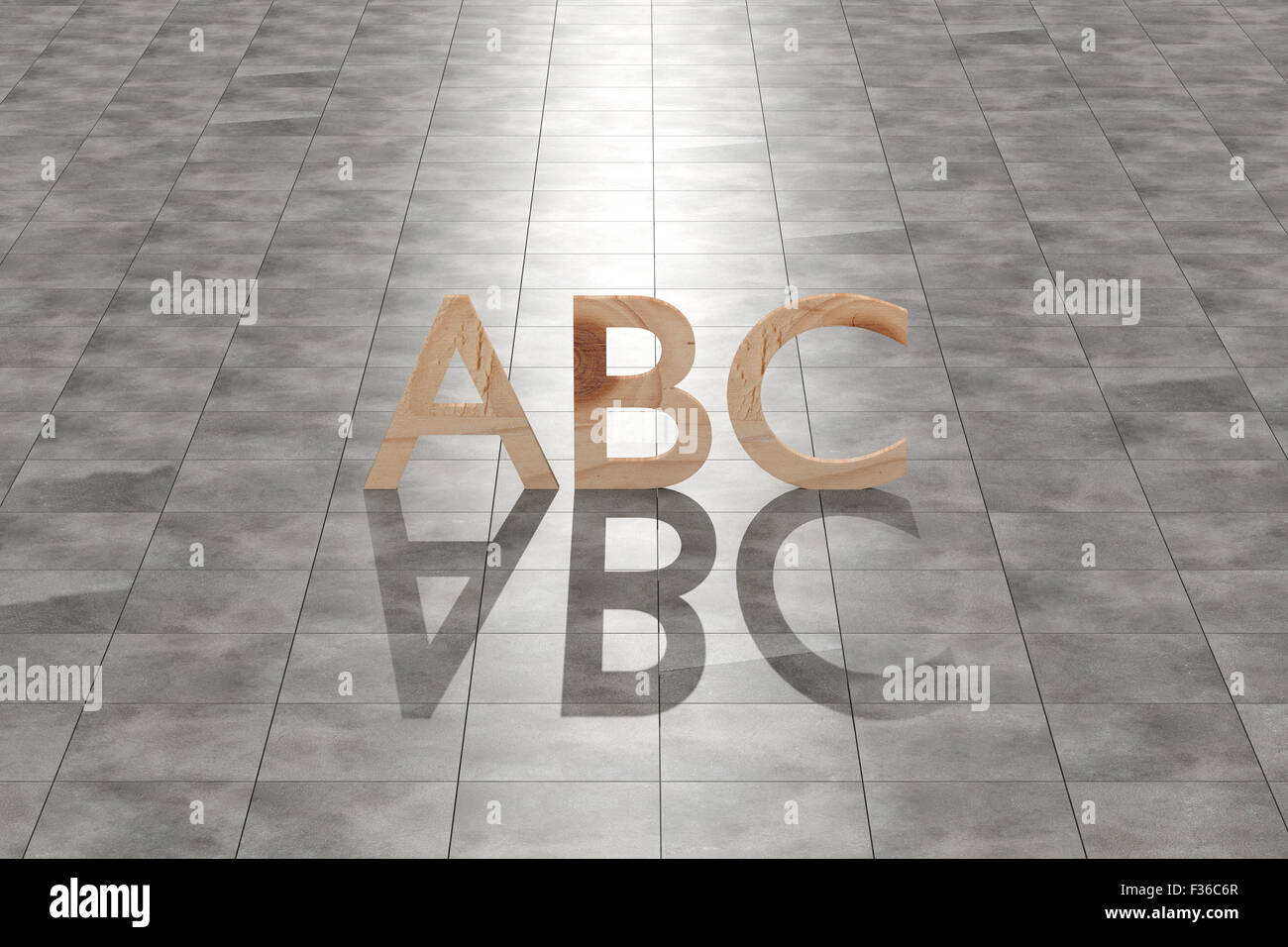 3d rendering of a wooden abc letters on a tiles floor - Stock Image