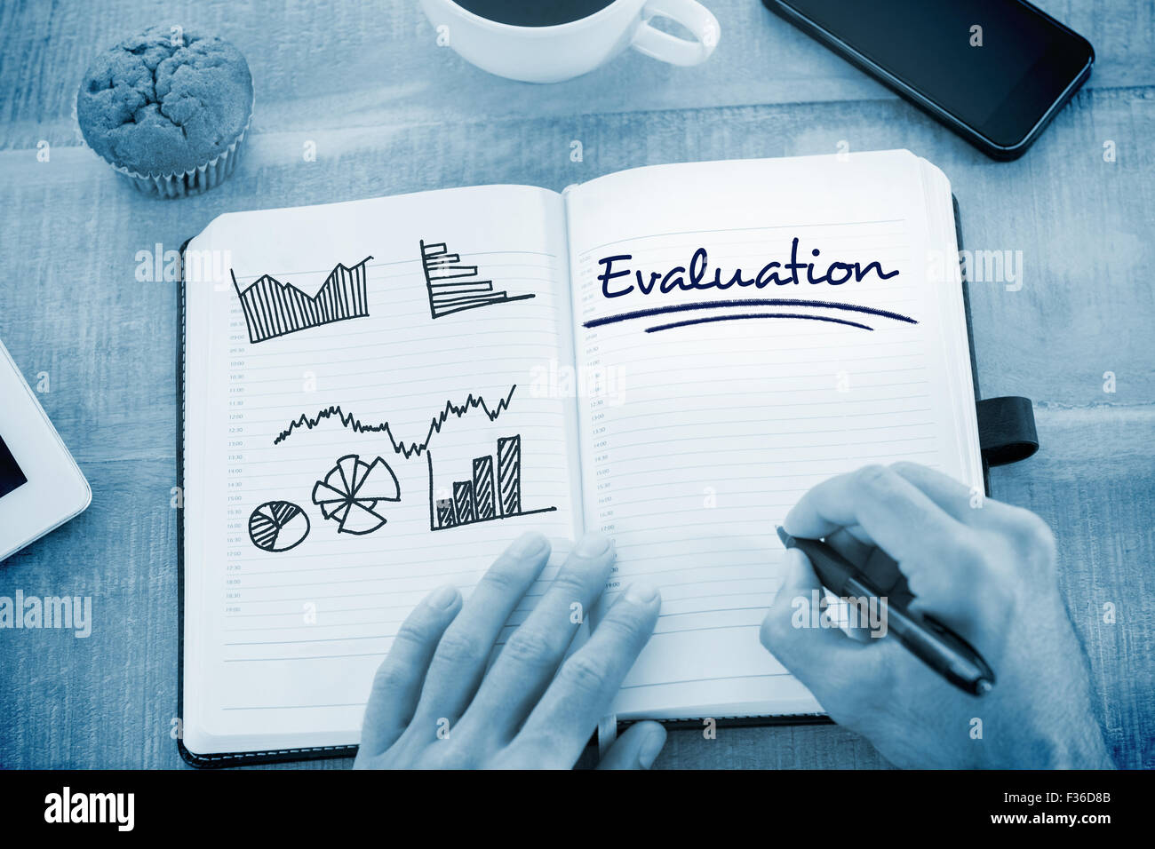 Evaluation  against business graphs - Stock Image