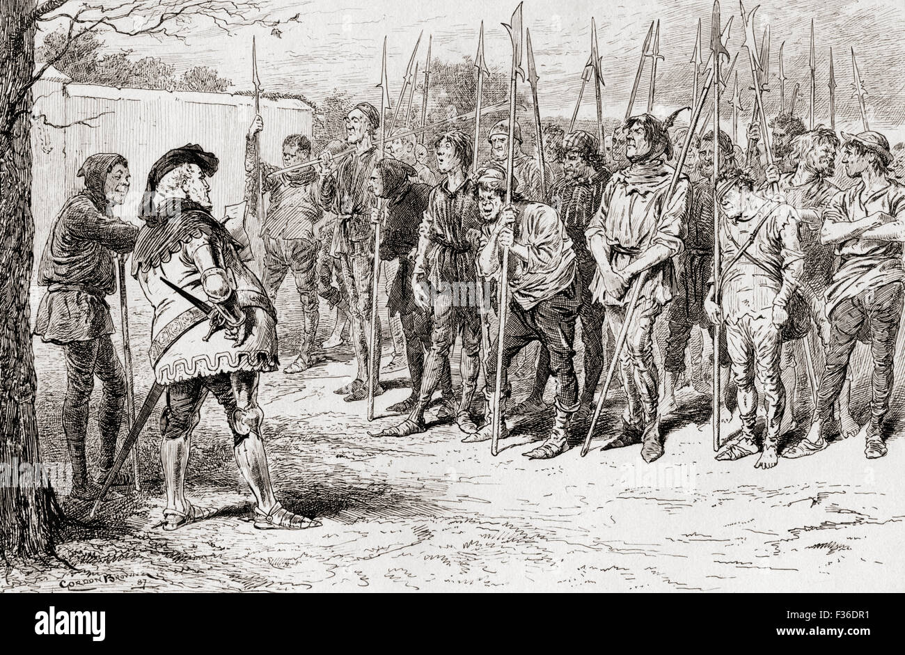 A scene from William Shakespeare's play King Henry IV, Part 1, Act IV, scene 2.   Falstaff's ragged regiment. - Stock Image