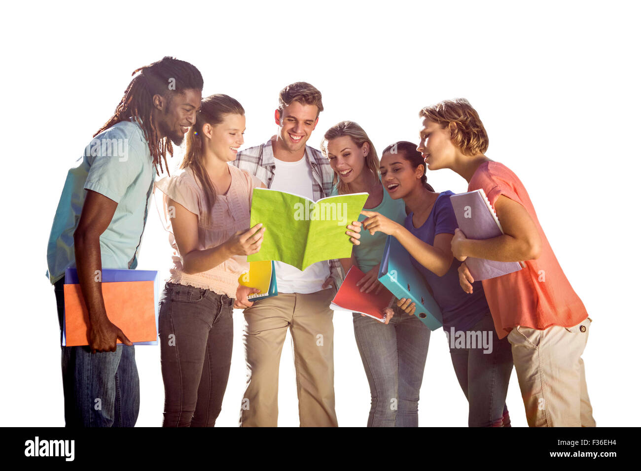 Composite image of happy students outside on campus - Stock Image