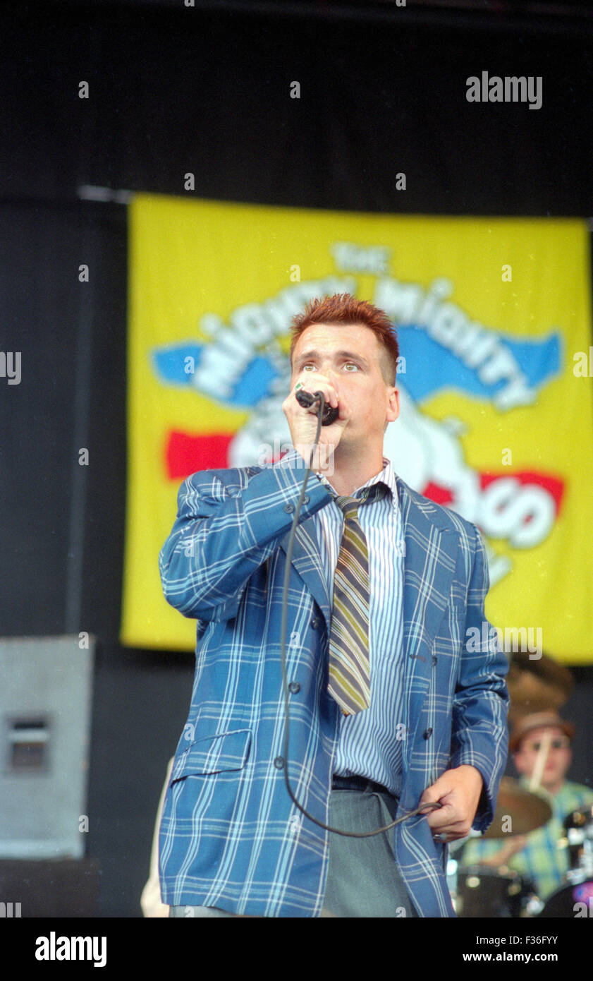 Dicky Barrett, of the Mighty Bosstones, performs during the 1995 Lollapalooza concert at Deer Creek Music Center - Stock Image