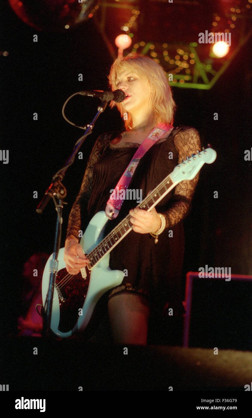 Courtney Love, of the band Hole, performs during the 1995 Lollapalooza concert at Deer Creek Music Center in Noblesville, - Stock Image