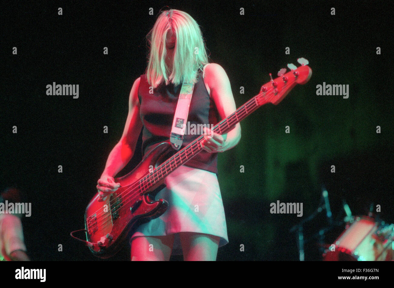 Kim Gordon, of Sonic Youth, performs during the 1995 Lollapalooza concert at Deer Creek Music Center in Noblesville, Stock Photo