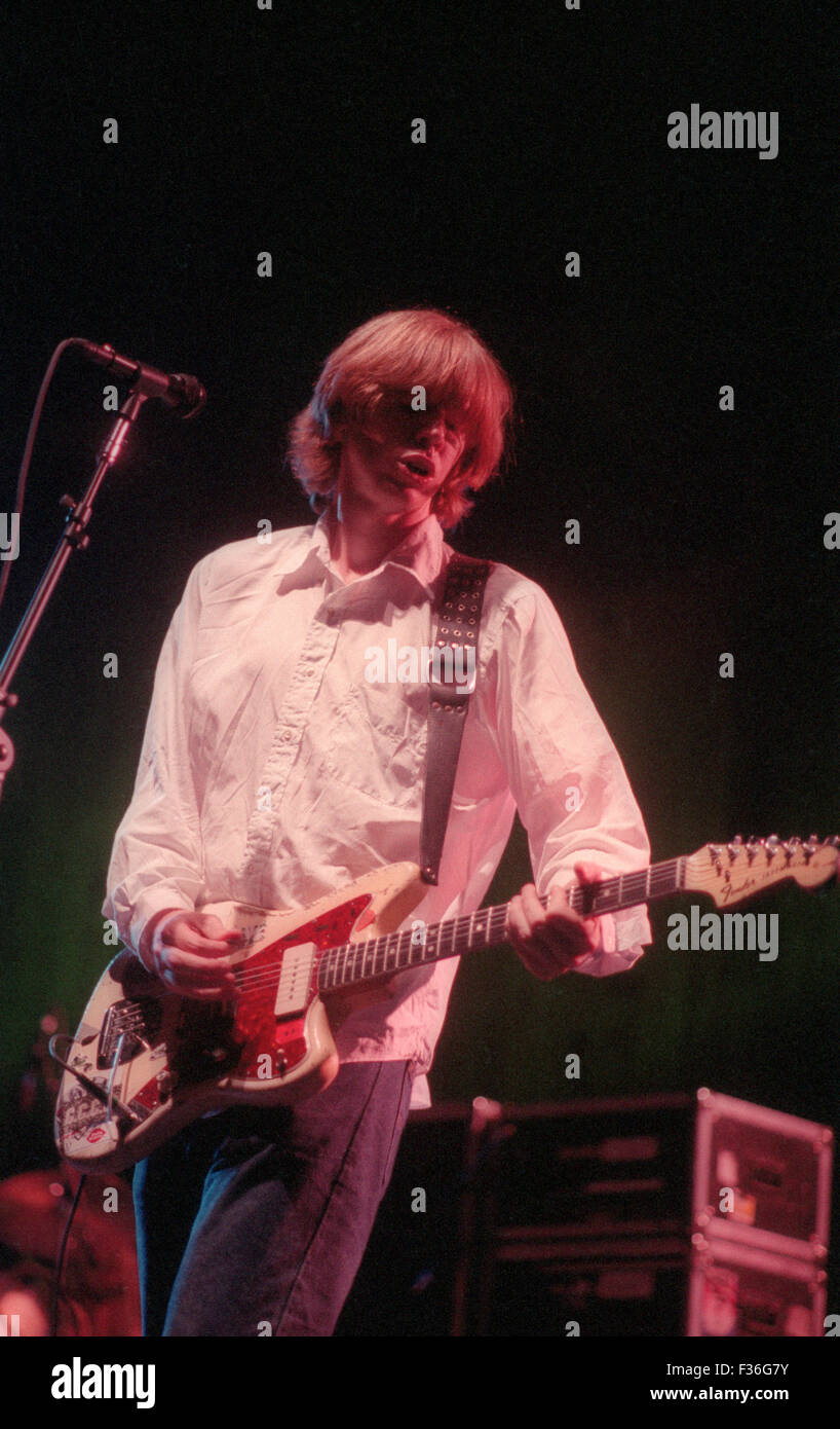 Thurston Moore of Sonic Youth performs during the 1995 Lollapalooza concert at Deer Creek Music Center in Noblesville, - Stock Image