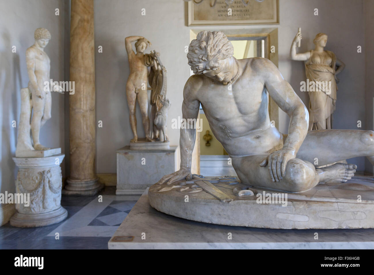 Rome. Italy. The Capitoline Museum. The Dying Gaul (Galatian), Roman copy of an original Greek work of the 3rd C - Stock Image