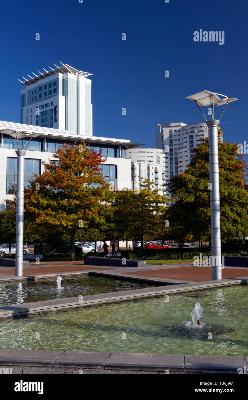 Callaghan Square and Raddison Blu hotel, Cardiff, Wales. - Stock Image