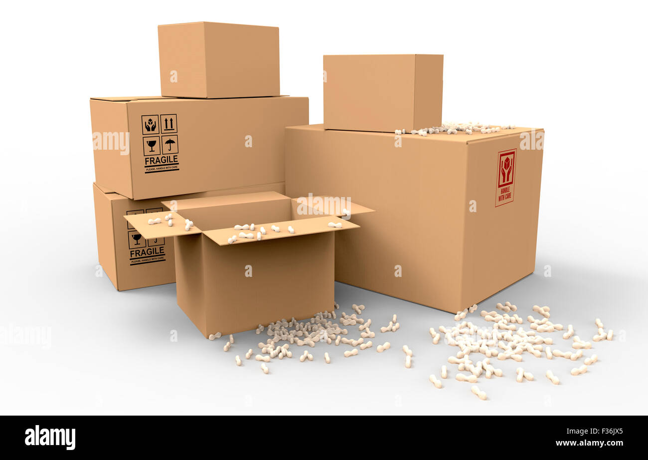 multiple brown cardboard packing boxes in a variety of sizes stacked