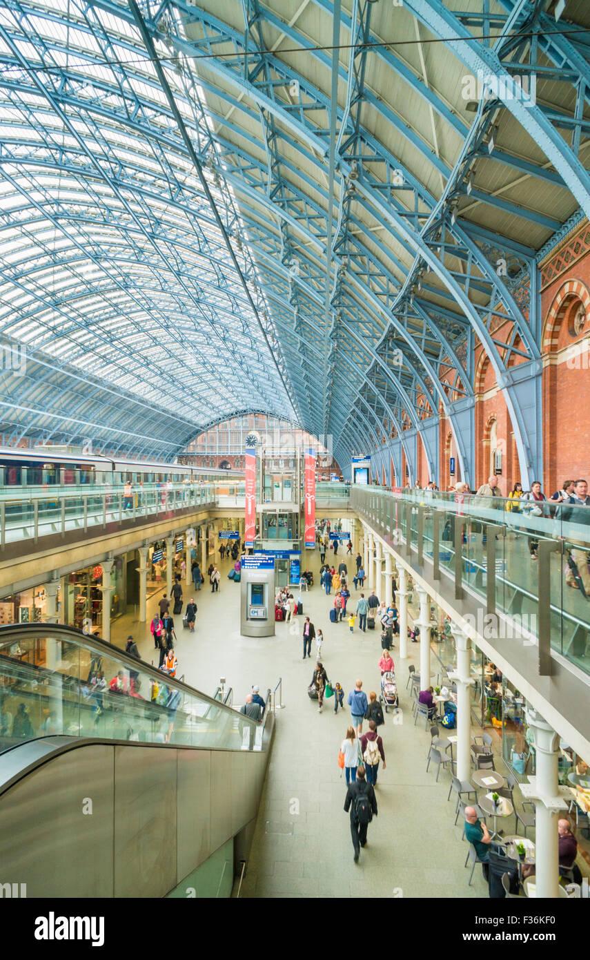 interior of St Pancras international railway station London England UK GB EU Europe - Stock Image