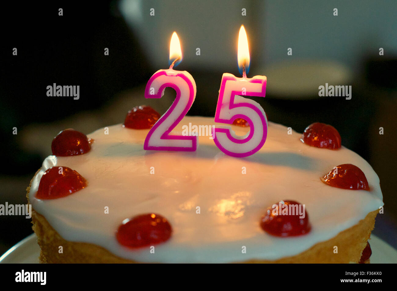 Astounding 25Th Birthday Cake With Cherries And 2 5 Candles On Top Stock Funny Birthday Cards Online Alyptdamsfinfo