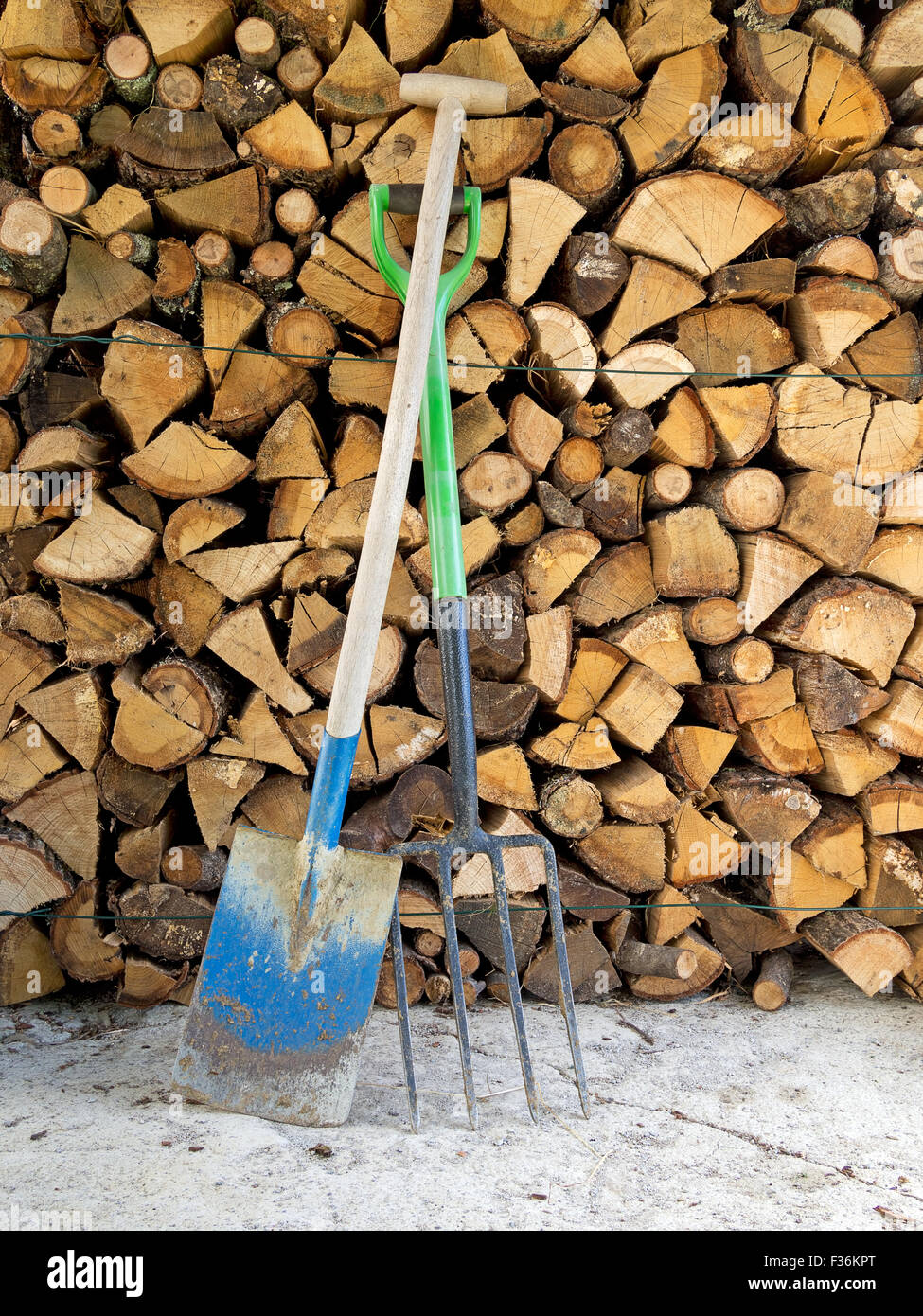 Garden spade, fork and wood for winter heating. Off grid lifestyle reality. - Stock Image