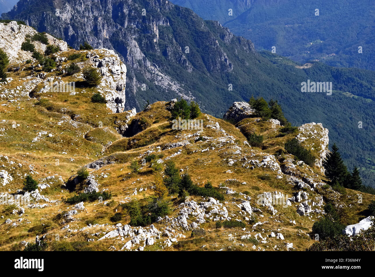 Mount Pasubio, locality Sogli Bianchi,  Veneto Pre-Alps. World War I,  Austro-Hungarian trenches. Mount Pasubio Stock Photo