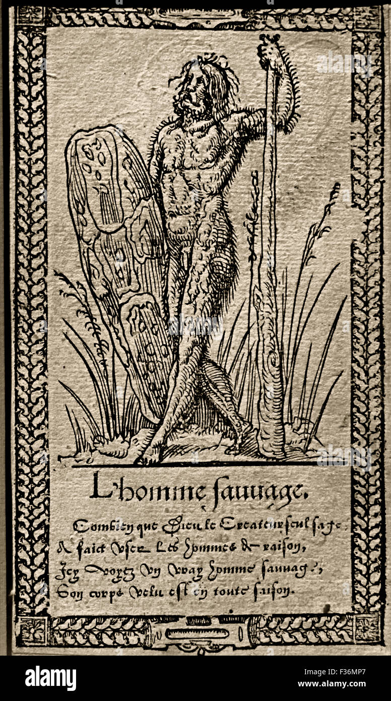 The noble Savage - L' bon Sauvage  - Various Styles of Clothing 16th Century Francois Desprez 1562 woodcut published - Stock Image