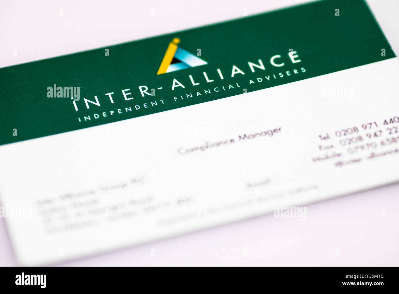 A business card from the national Independent Financial Advisor ...